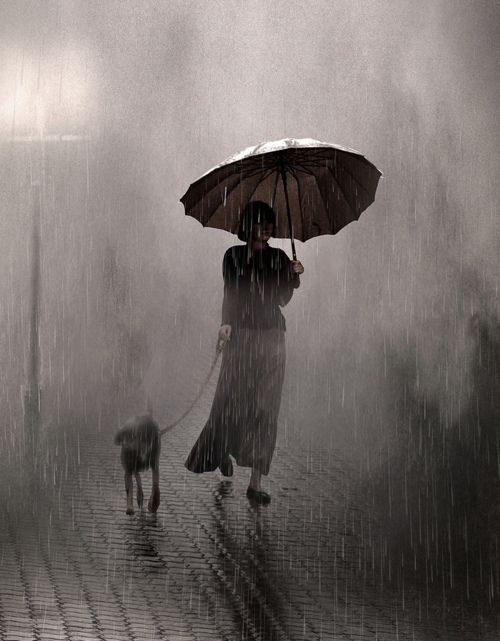 woman walks her dog